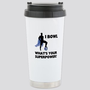 Bowling Superhero Stainless Steel Travel Mug