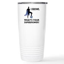 Bowling Superhero Stainless Steel Travel Mug