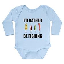 I'd Rather Be Fishing Long Sleeve Infant Bodysuit