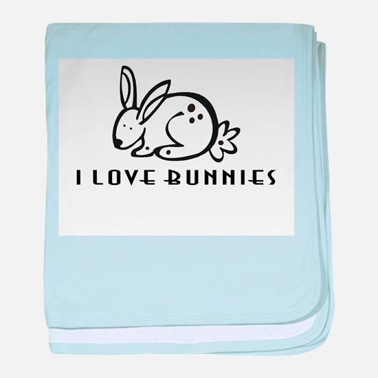 I Love Bunnies baby blanket