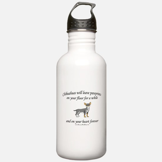 Chihuahua Pawprints Water Bottle