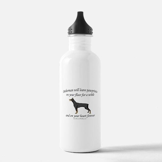 Doberman Pawprints Water Bottle