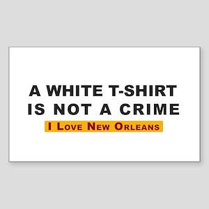 White Tee Shirt not a Crime Rectangular Sticker