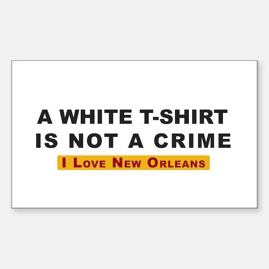 White Tee Shirt not a Crime Rectangular Decal