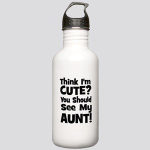 Think I'm Cute? Aunt - Black Stainless Water Bottl