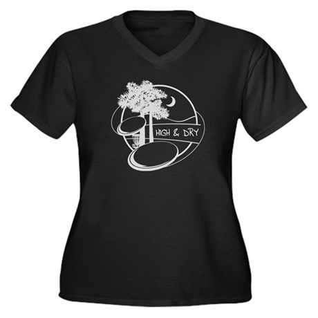 High and Dry Women's Plus Size V-Neck Dark T-Shirt