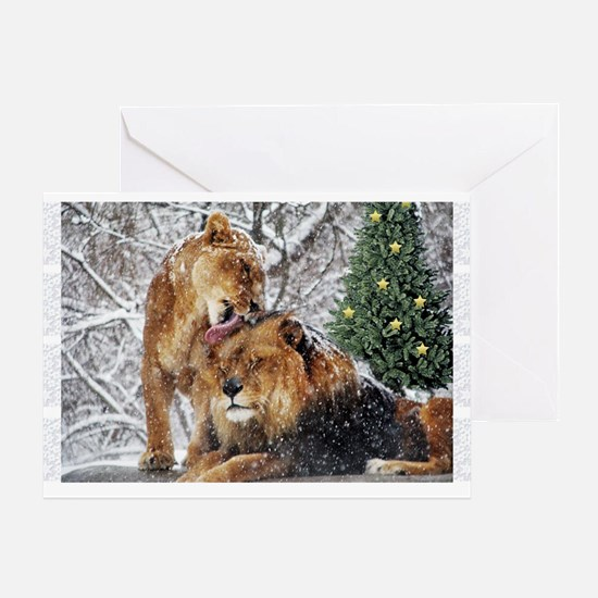 snowy lions Greeting Card