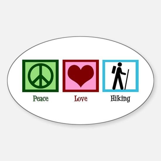 Peace Love Hiking Sticker (Oval)