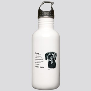 Black Great Dane Stainless Water Bottle 1.0L