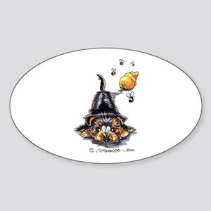Bee Yorkie Lover Sticker (Oval)