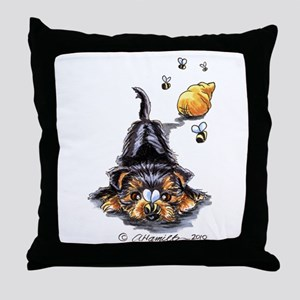 Bee Yorkie Lover Throw Pillow