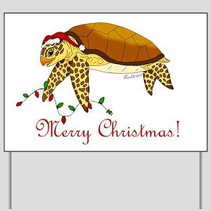 Christmas Sea Turtle Yard Sign