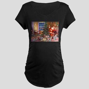 SANTA CLAUS ON CHRISTMAS EV Maternity Dark T-Shirt