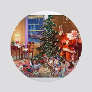 SANTA CLAUS ON CHRISTMAS EVE Ornament (Round)