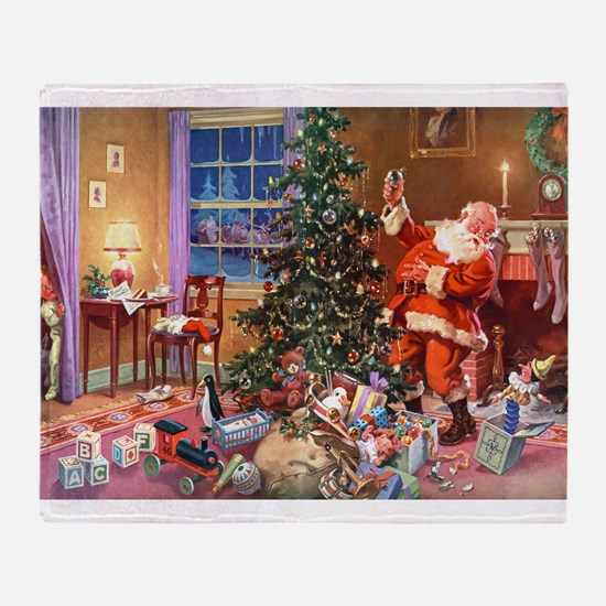 SANTA CLAUS ON CHRISTMAS EVE Throw Blanket