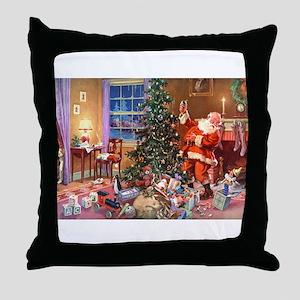 SANTA CLAUS ON CHRISTMAS EVE Throw Pillow