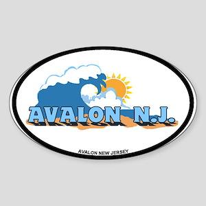 Avalon NJ - Waves Design Sticker (Oval)