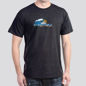 Avalon NJ - Waves Design Dark T-Shirt