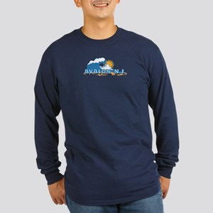Avalon NJ - Waves Design Long Sleeve Dark T-Shirt