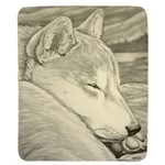 Shiba Inu Dog Art Mouspad Gifts Sherpa Fleece Thro