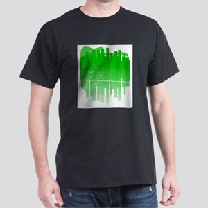Abstract Green Guitar City T-Shirt