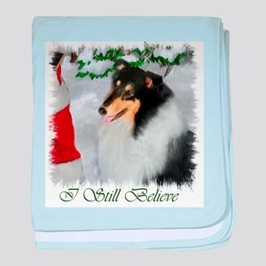 Tri-Color Collie Christmas baby blanket