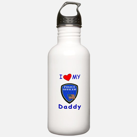 I Love Police Officer Daddy Water Bottle