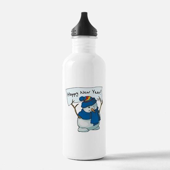 Happy New Years Snowman Water Bottle