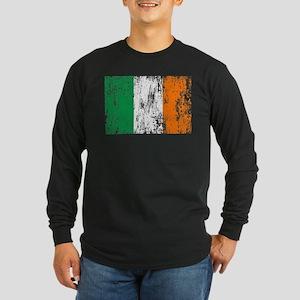 Irish Flag Pattys Drinking Long Sleeve Dark T-Shir