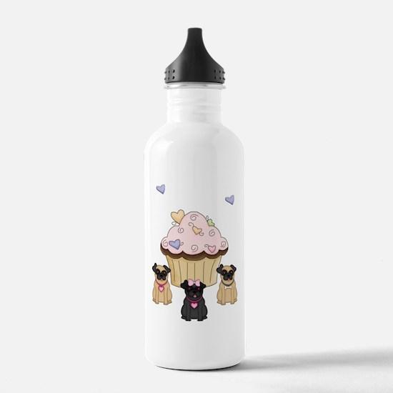 Pug Dog Cupcakes Water Bottle