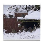 Quail in the snow Tile Coaster
