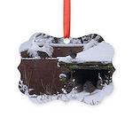Quail in the snow Ornament