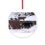 Quail in the snow Round Ornament