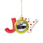 Quail in the snow Joy Ornament