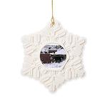 Quail in the snow Snowflake Ornament