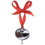 Quail in the snow Oval Year Ornament
