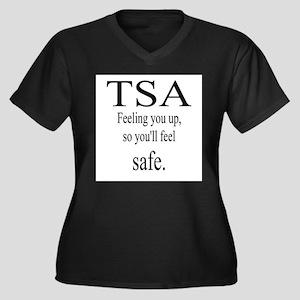 TSA feeling Women's Plus Size V-Neck Dark T-Shirt