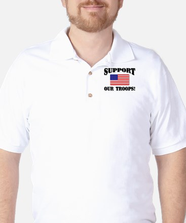 Support Our Troops Flag Golf Shirt