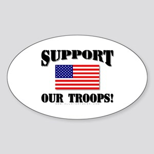 Support Our Troops Flag Oval Sticker