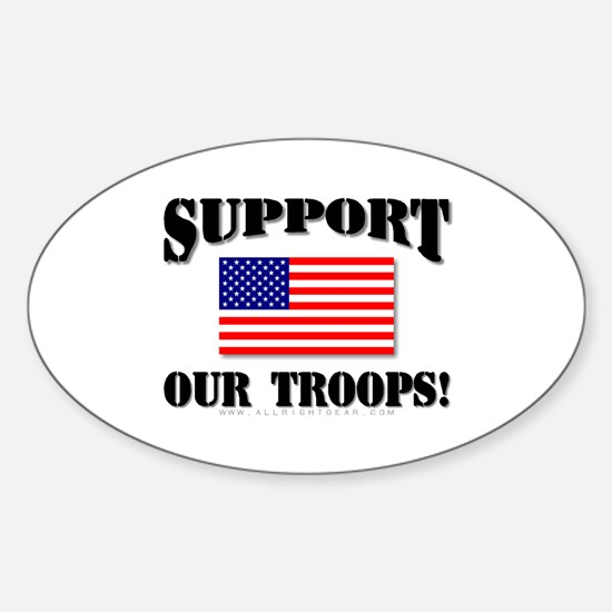 Support Our Troops Flag Oval Decal