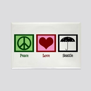 Peace Love Seattle Rectangle Magnet