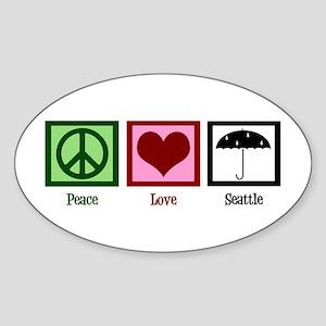 Peace Love Seattle Sticker (Oval)