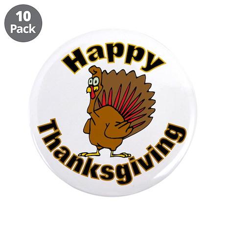 """Thanksgiving Turkey 3.5"""" Button (10 pack)"""