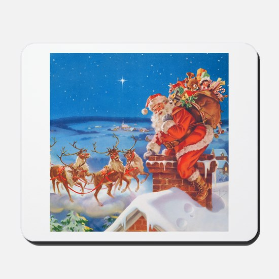Santa Up On the Rooftop Mousepad