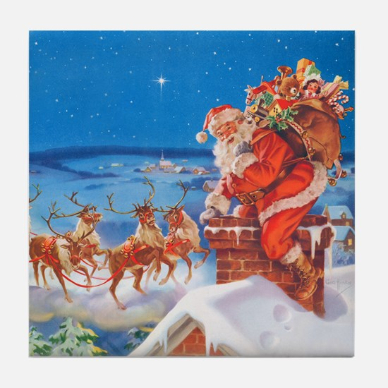 Santa Up On the Rooftop Tile Coaster