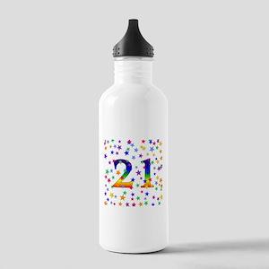 Rainbow Stars 21st Birthday Stainless Water Bottle