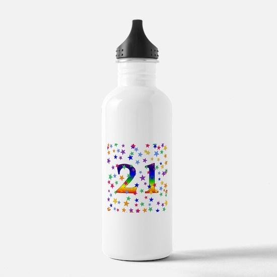 Rainbow Stars 21st Birthday Water Bottle