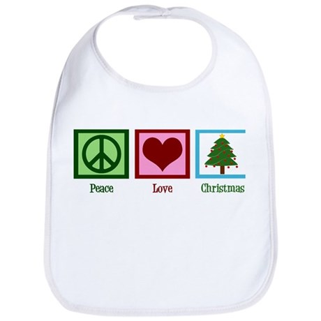 Peace Love Christmas Bib