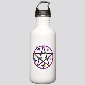 Wiccan Star and Butterflies Stainless Water Bottle