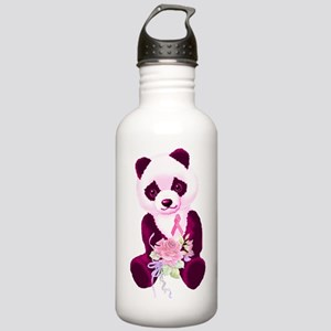 Breast Cancer Panda Bear Stainless Water Bottle 1.